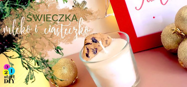 świeczka mleko i ciasteczko