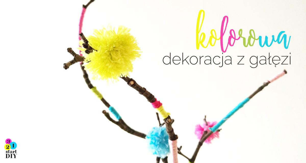 kolorowa dekoracja z gałęzi