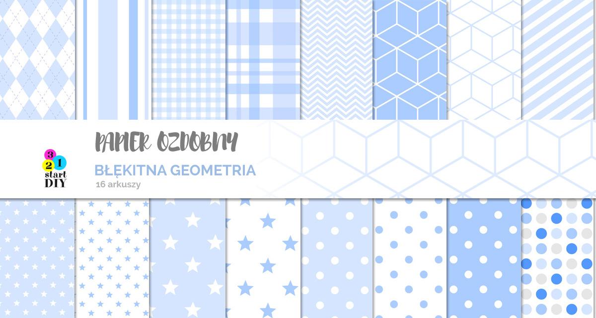 papier geometryczny do pobrania błękitny