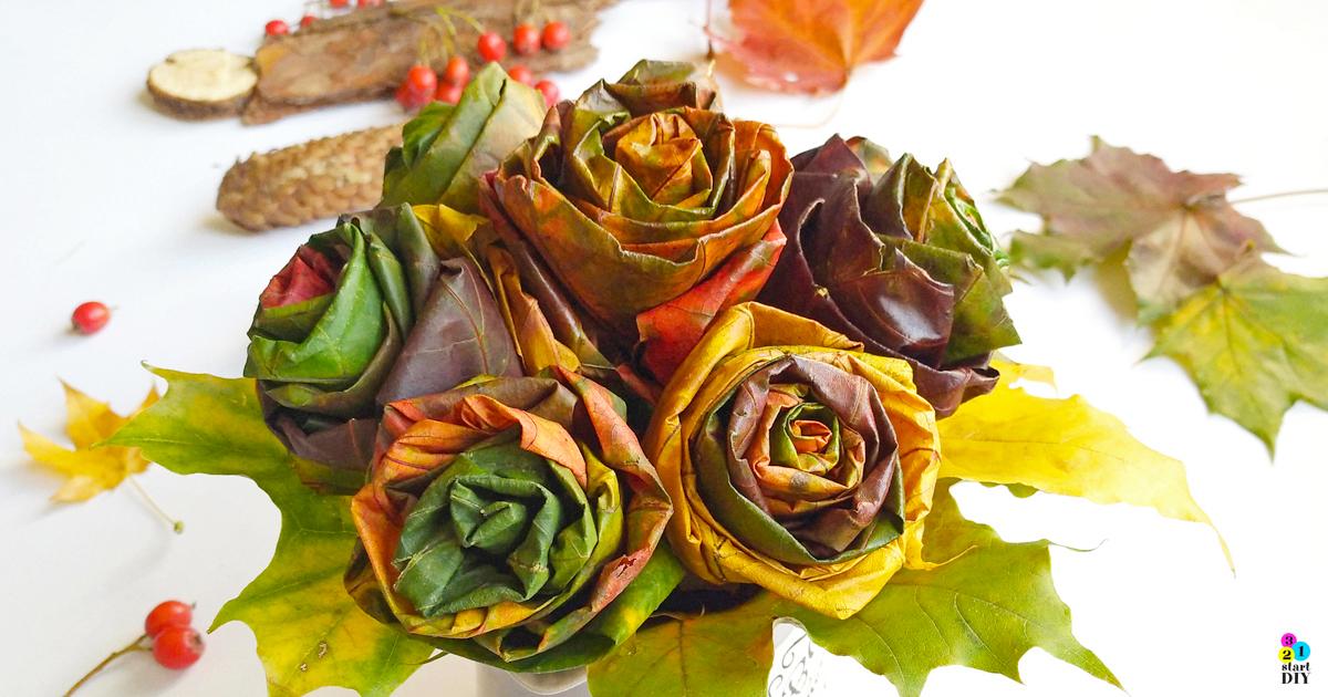 róże z liści, jesienna dekoracja