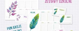 Plany lekcji+naklejki – zestawy szkolne do druku